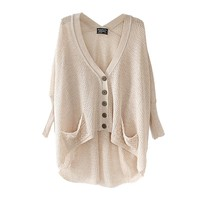 Imixcity Women Top Oversized Batwing Coat Knit Sweater