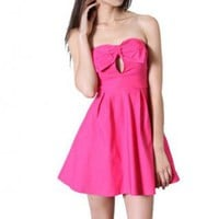 Pink Bow Front Strapless Flare Dress with Keyhole Detail