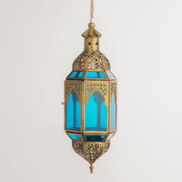 Small Blue Latika Hanging Lantern