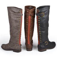 Brinley Co. Womens Regular and Wide-Calf Knee-High Studded Riding Boot