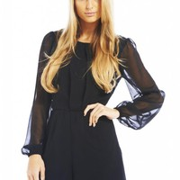 Black Chiffon Long Sleeve Playsuit