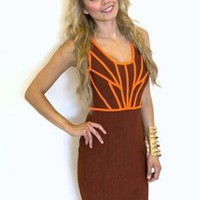 Red & Orange Contrast Bodycon Dress