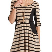 COLOR BLOCK STRIPED HACCI DRESS