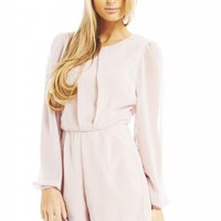 Off White Chiffon Long Sleeve Playsuit