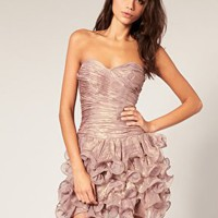 Rare | Rare Opulence Metallic Chiffon Ruched Frill Dress at ASOS