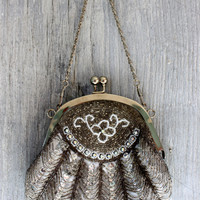 vintage purse evening bag // beaded evening bag // sequins rhinestones // silver // L