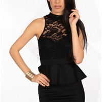 The Black Peplum Lace Neck Dress - 29 N Under