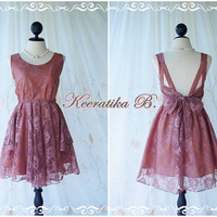 A Party V Shape - Cocktail Dress Wedding Bridesmaid Dress Party Prom Dress Backless Dress Rosy Brown Roses Lace Brown Lining Dress