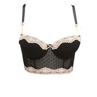 FLOCKED DOT MESH LONGLINE BRA