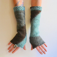 Felted Cashmere Arm Warmers - Cashmere Fingerless Arm Warmers - Geometric Long Gloves