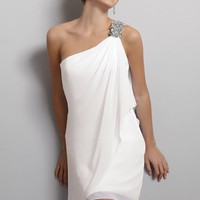 One Shoulder Chiffon Dress by Jordan Moments Collection