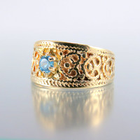 Vintage 10k Gold Topaz Patterned Wide Cigar Band Wedding Ring Inscribed