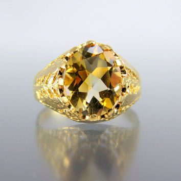 Estate Vintage 18k Gold Filigree Basket Setting Citrine Ring