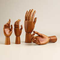 Small Moving Wooden Hands, Set of 2