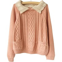 Korean Girl Women Zigzag Turn-down Collar Batwing Plus Size Cable-knit Sweater