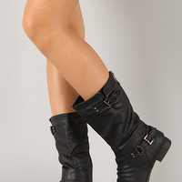 Coco-36 Ruched Buckle Round Toe Mid Calf Boot