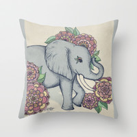 Little Elephant in soft vintage pastels Throw Pillow by Micklyn
