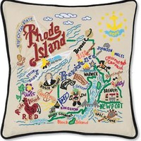 Rhode Island Decorative Embroidered Throw Pillow
