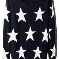 ROMWE | ROMWE Stars Knitted Color Block Navy Jumper, The Latest Street Fashion
