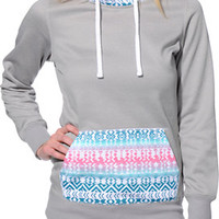 Empyre Girls Frostier Grey Tribal Pullover Tech Fleece Jacket