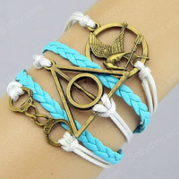 Leather bracelet,handcuffs bracelet,Games bracelet Mocking Bird bracelet Potter Deathly Hallows bracelet,white rope blue leather