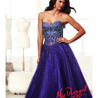 (PRE-ORDER) Mac Duggal 2014 Prom Dresses - Purple & Multi Stone Beaded Strapless Sweetheart Corset Tulle Gown