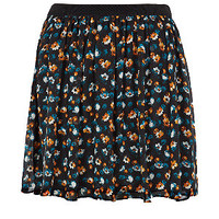 Black Blue and Orange Ditsy Floral Skater Skirt