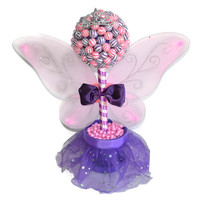 Lollipop Fairy Princess Topiary, Pink and Purple Birthday Centerpiece, Edible, Candy Buffet, Centerpiece, Baby Shower, Lollipops, Candy