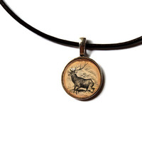 Wild deer pendant Forest stag necklace Woodland jewelry n320