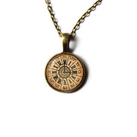 Steampunk pendant Old watch necklace Antique art jewelry n322
