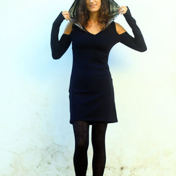 Funky hood dress, Cut out black dress, Aztec print hoodie