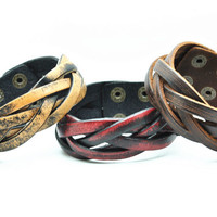 Real Soft Brown Leather Women Leather Jewelry Bangle Cuff Bracelet Men Leather Bracelet C063