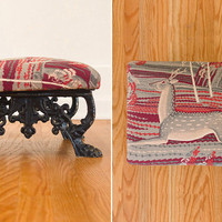 SALE Cast Iron and Deer Print Barkcloth Upholstered Footstool