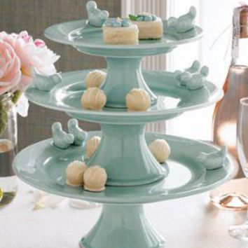 Three-Tiered Bluebirds Cake Stand - Horchow