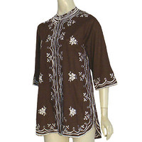 Chuchi 1970s Vintage Hippie Blouse Floral Embroidery Philippines