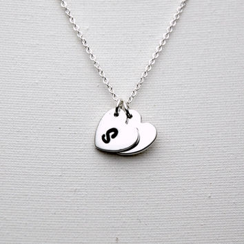 Hand Stamped Sterling Silver Personalized Monogram Necklace - Custom Initial Heart Necklace - Modern Jewellery - Silver Delicate Necklace