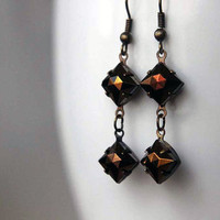 Metallic Brown Crystal Earrings - Vintage Brown Iris Glass Dangles - Copper, Bronze, Brass - Chocolate Diamond - Gift Box
