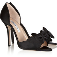 Oscar de la Renta Delin bow-embellished satin pumps – 65% at THE OUTNET.COM