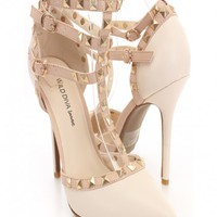 Stone Faux Leather Strappy Studded Single Sole Heels