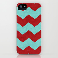 chevron - red and teal iPhone & iPod Case by her art