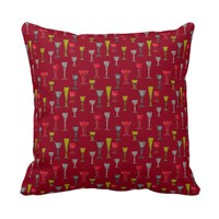 Burgundy Cocktail Party Throw Pillows