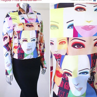 Vintage 1990s Pop Art Motorcycle Jacket