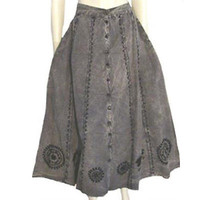1980s Vintage Stonewashed Gored Skirt Hippie Embroidery