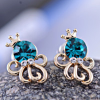 Crowned Octopus Queen Rhinestone Earrings