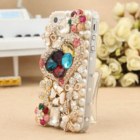 FREE SHIPPING iPhone 5 Case Artificial Rhinestone Swarovski Crystals Heart White Flowers Cover