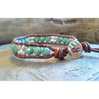 Leather Beaded Bracelet, Leather Wrap, Southwest Chic Leather Wrap Bracelet