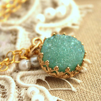 Mint Golden Druzy green stone Necklace ,gift for woman, druzy jewelry - 14k gold filled necklace with real gemstone.