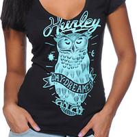 Hurley Girls Owl Black V-Neck Tee Shirt