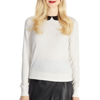 Heart and Faux Leather Collar Top