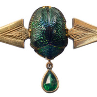 1890s Victorian Scarab Beetle and Green Paste Brooch, 14K Gold : Erie Basin Antiques
